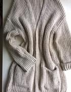 Długi beżowy kardigan płaszcz oversize od S do XL...