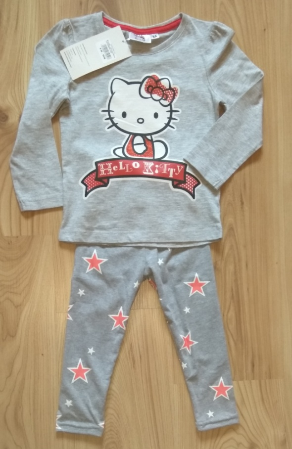 Szara bluzka Hello Kitty i getry w gwiazki 92 98