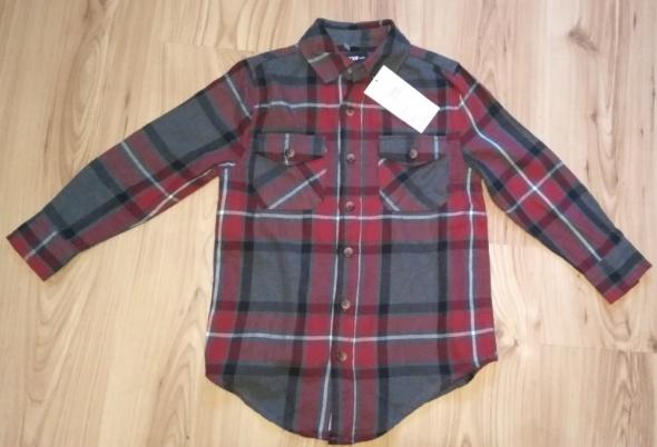 Nowa chłopięca flanelowa koszula w kratę z długim rękawem 128
