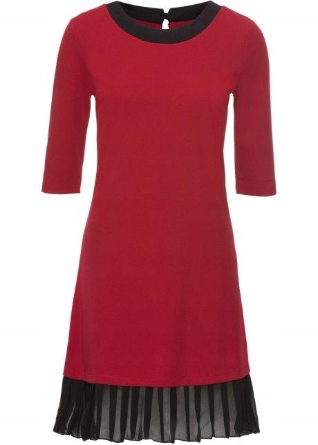 Czerwono czarna elegancka sukienka plisowana 40 lub 42