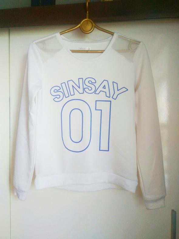 Bluza biała siatka na ramionach Sinsay r S