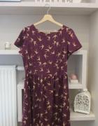 Letnia fioletowa sukienka w jaskółki...