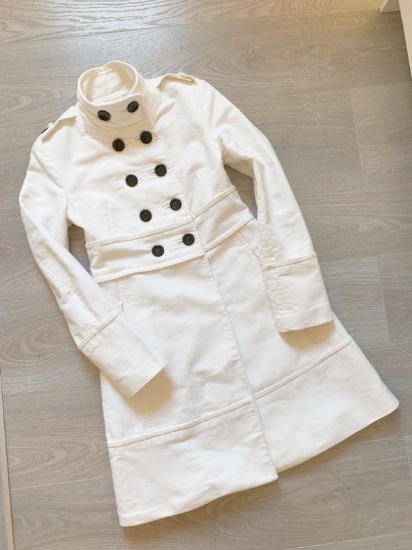 Mango Suit płaszcz biały ecru elegancki jesień wiosna S M