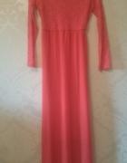 Neonowa sukienka maki 34 36 koronka kokardki