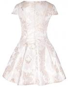 Żakardowa rozkloszowana sukienka nude 40