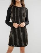 Zdobiona czarna sukienka S Glamorous