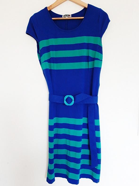 Sukienka 46 niebiesko zielona