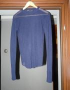 Sweter mgiełka ZARA granatowy M domieszka wełny