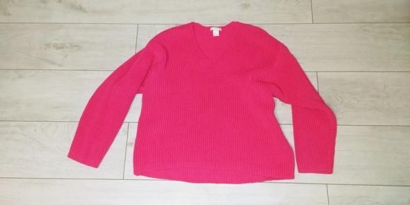Sweter malinowy różowy H&M rozmiar S oversize blog...