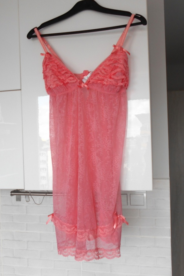 Cubus różowa koszula nocna koronkowa falbanki