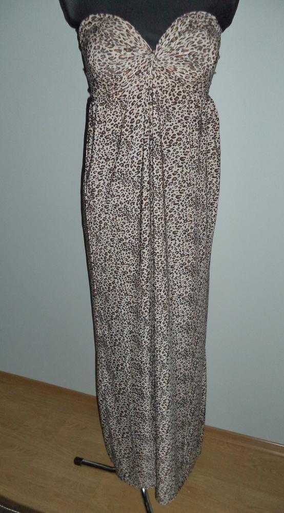 Sukienka długa gorsetowa panterka