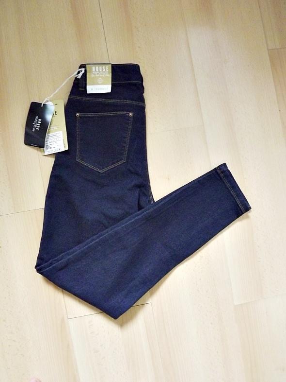 House granatowe spodnie rurki z wysokim stanem elastyczne high waisted nowe