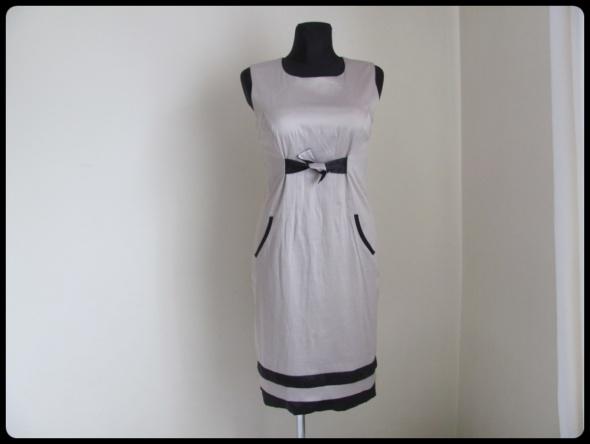 Elegancka sukienka wesele itp 40 L beż i czerń