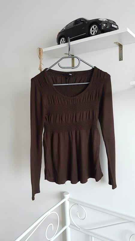 H&M sweterek marszczenia brąz czekoladowy pikowany