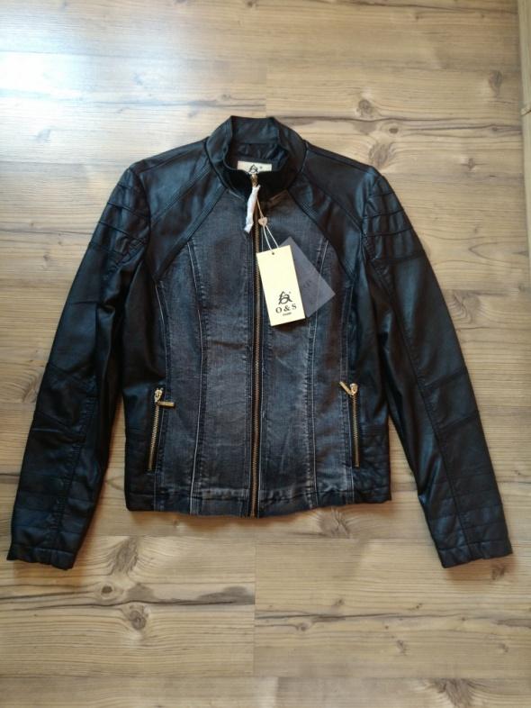 Nowa skórkowo jeansowa kurtka biker rozmiar M...
