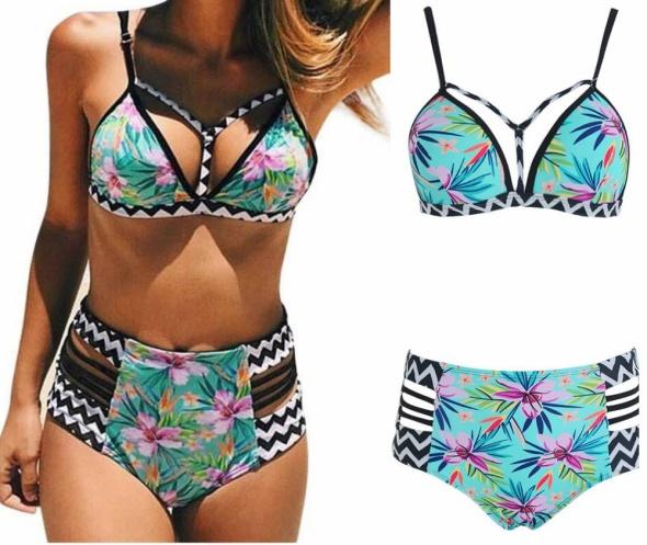 Strój kąpielowy bikini wysoki stan Boho z Push Up rozmiar SM