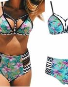Strój kąpielowy bikini wysoki stan Boho z Push Up rozmiar SM...
