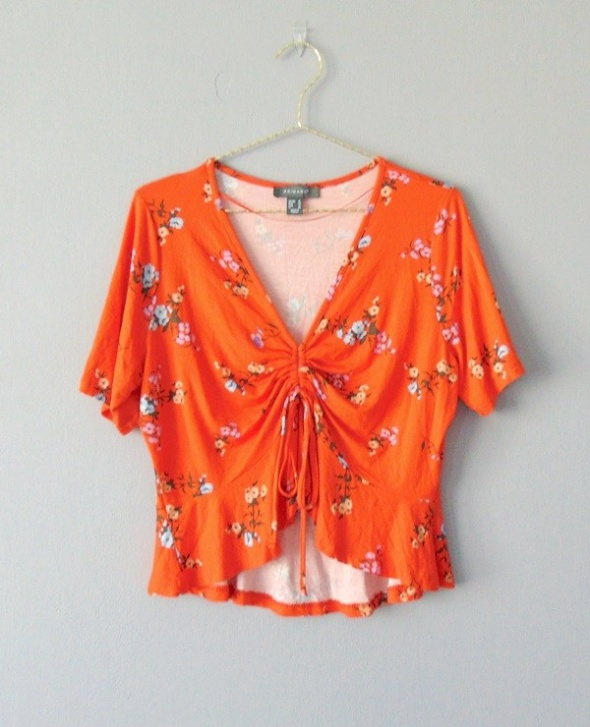 Primark pomarańczowy top w kwiaty 44