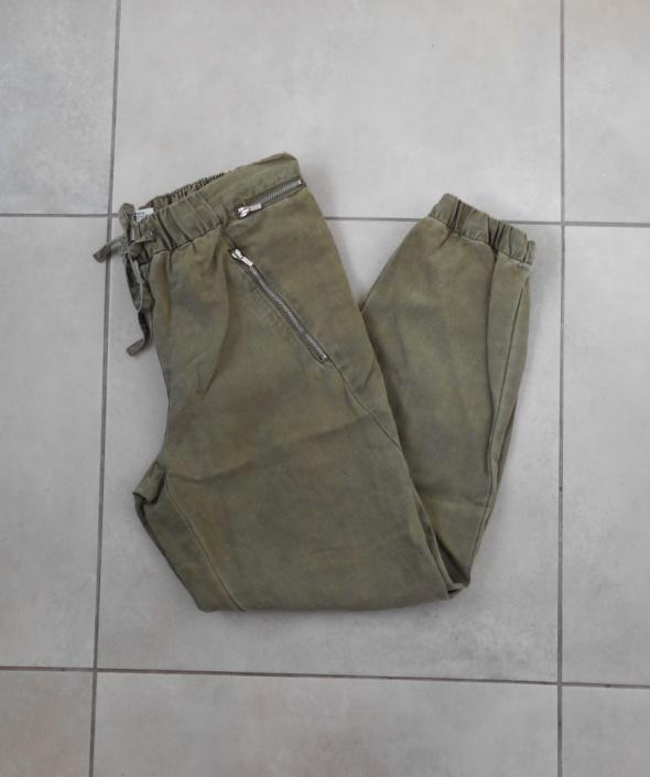 Zara spodnie baggy khaki lniane len
