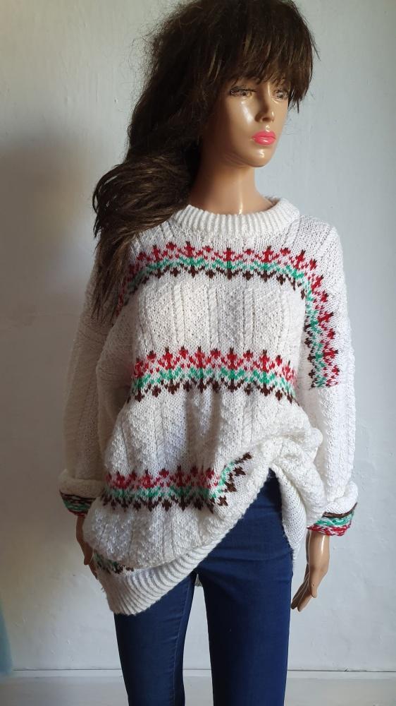 Ciepły sweterek zimowe wzory r oversize