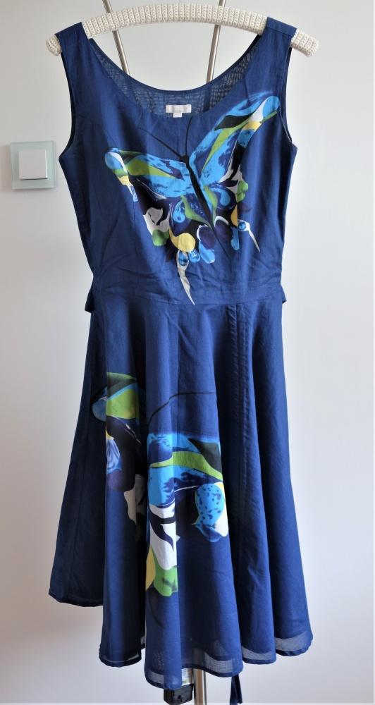 SOLAR 34 XS małe S rozkloszowana sukienka w motyle...