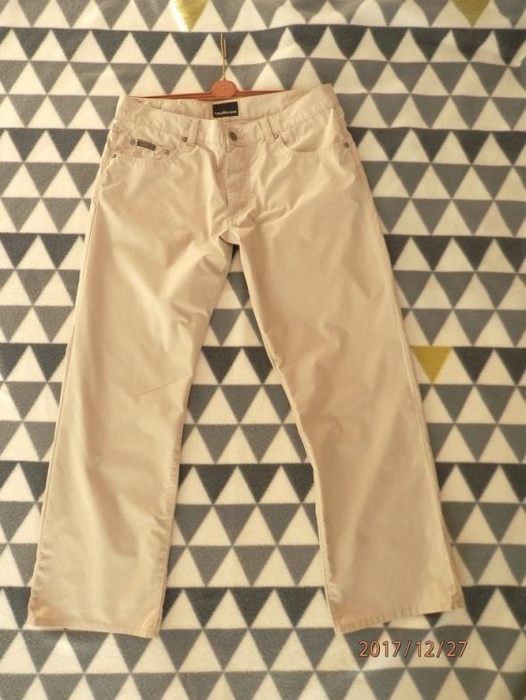 Spodnie Calvin Klein Męskie Beżowe Klasyczne Proste Nogawki W33 L34