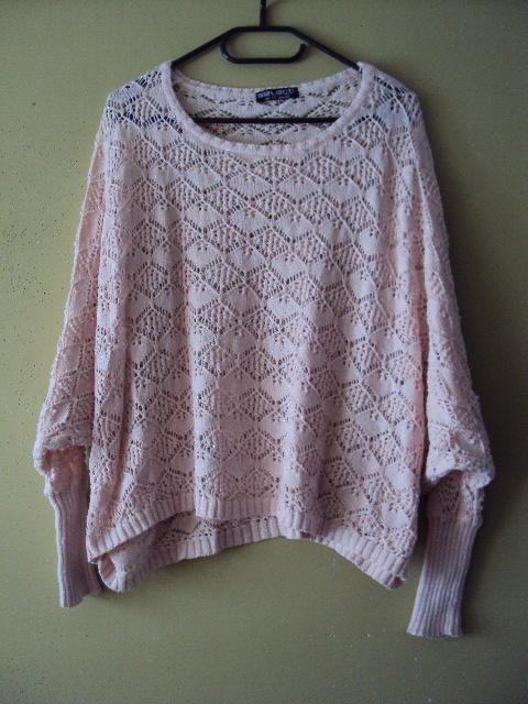 krótki ażurowy sweterek wdzianko