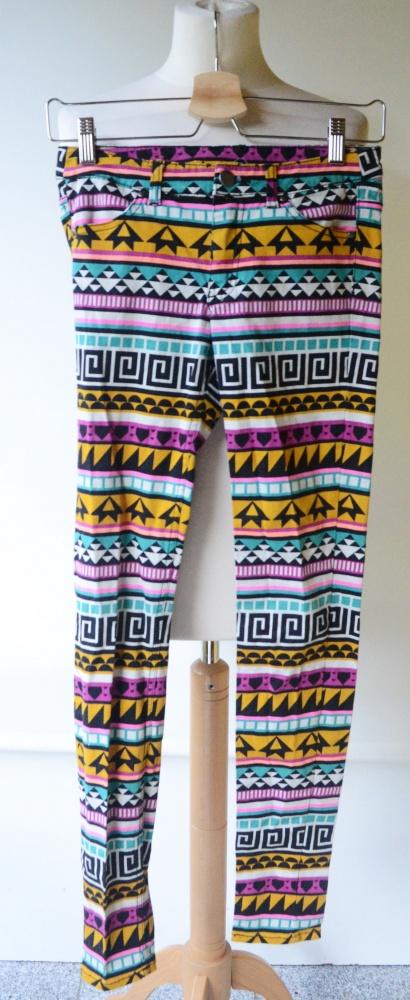 Spodnie H&M Aztec Rurki S 36 Azteckie Wzory