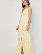 Nowa sukienka Monsoon 6 XS 36 długa maxi jasno żółta żakardowa ...