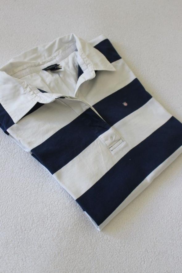 bawełniana koszulka polo w granatowe paski L...
