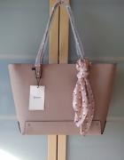 Nowa duża stylowa torba shopper ozdobną z apaszką w groszki Ber...