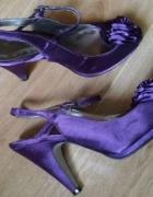 Fioletowe sandały szpilki satyna 38...