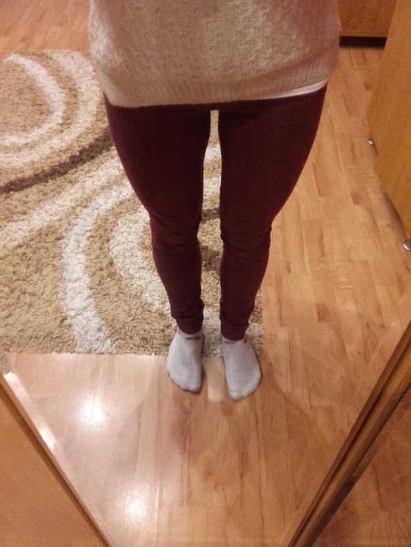 Bordowe jeansy H&M rozm S 36 rurki...