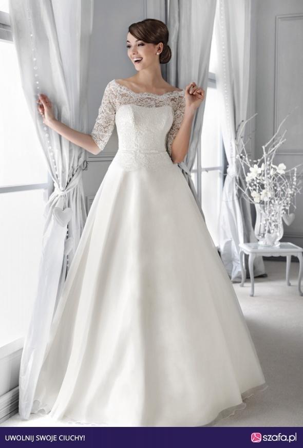Suknie ślubne Śnieżnobiała romantyczna suknia ślubna AGNES