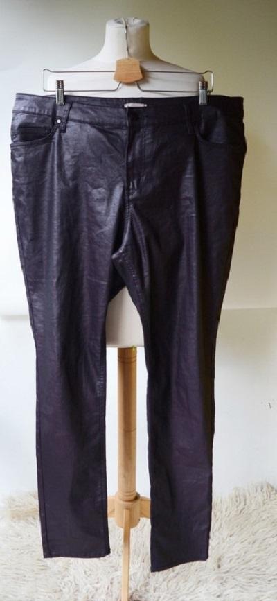 Spodnie H&M Fioletowe Woskowane 48 4XL Rurki...