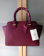 Nowa stylowa bordowa torebka z ozdobną apaszką Bershka...