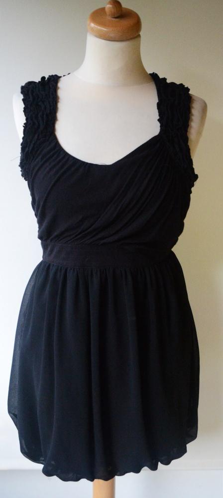 Sukienka Czarna Odkryte Plecy Bik Bok XS 34...