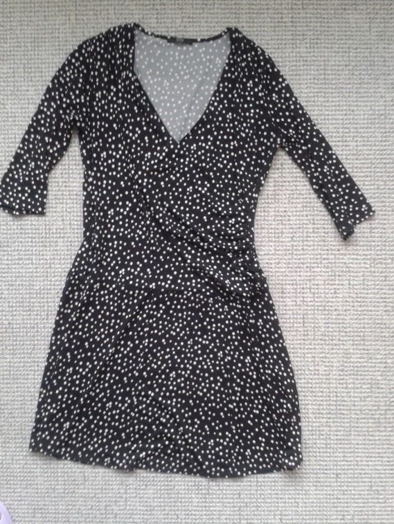 Sukienka w groszki L 40 C&A czarna biała