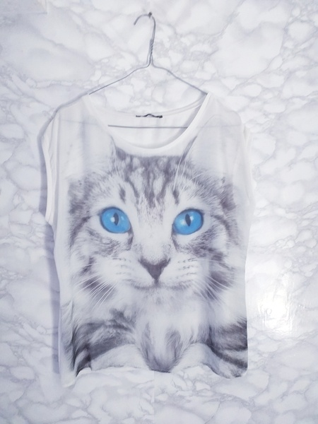 Atmosphere biała luźna bluzka bluzeczka z kotem oversize 38 M...