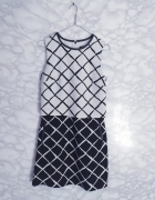 Oasis elegancka biało czarna sukienka krata kratka podwójna 34 XS