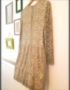 Koronkowa złota miedziana sukienka Ralph Lauren r 38...