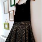 Czarno złota sukienka haftowana złota nitka r 40