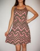 Sukienka geometryczne wzory boho na lato S M...