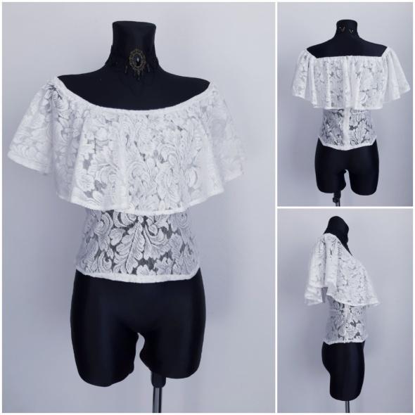Koronkowa bluzka hiszpanka XS biała