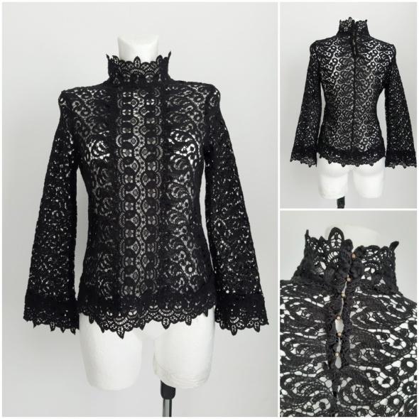 Koronkowa bluzka ze stójką Zara XS