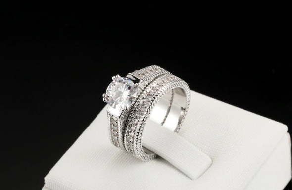 Nowe pierścionki zestaw komplet pierścionek srebrny kolor cyrko...