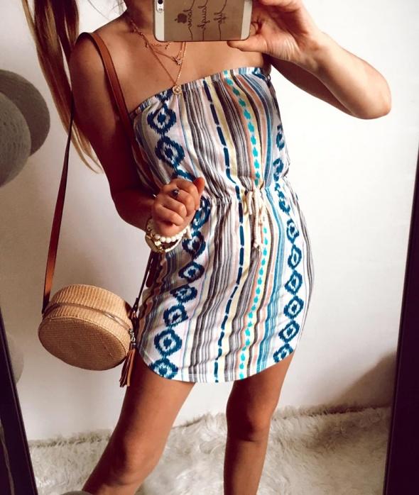 Suknie i sukienki Sukienka Damska wzory azteckie S M