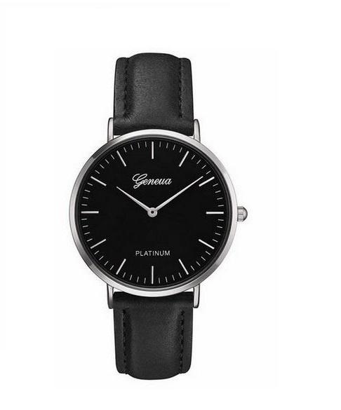 Zegarek Geneva Platinum na czarnym skórzanym pasku kolor tarczy czarny koperta srebrna