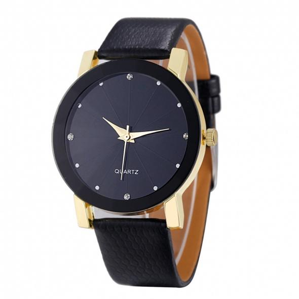 Elegancki zegarek na czarnym skórzanym pasku ozdobna tarcza z cyrkoniami złota koperta