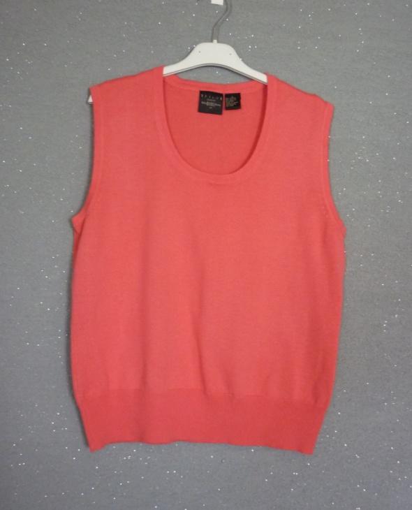 Różowy sweterkowy top kamizelka